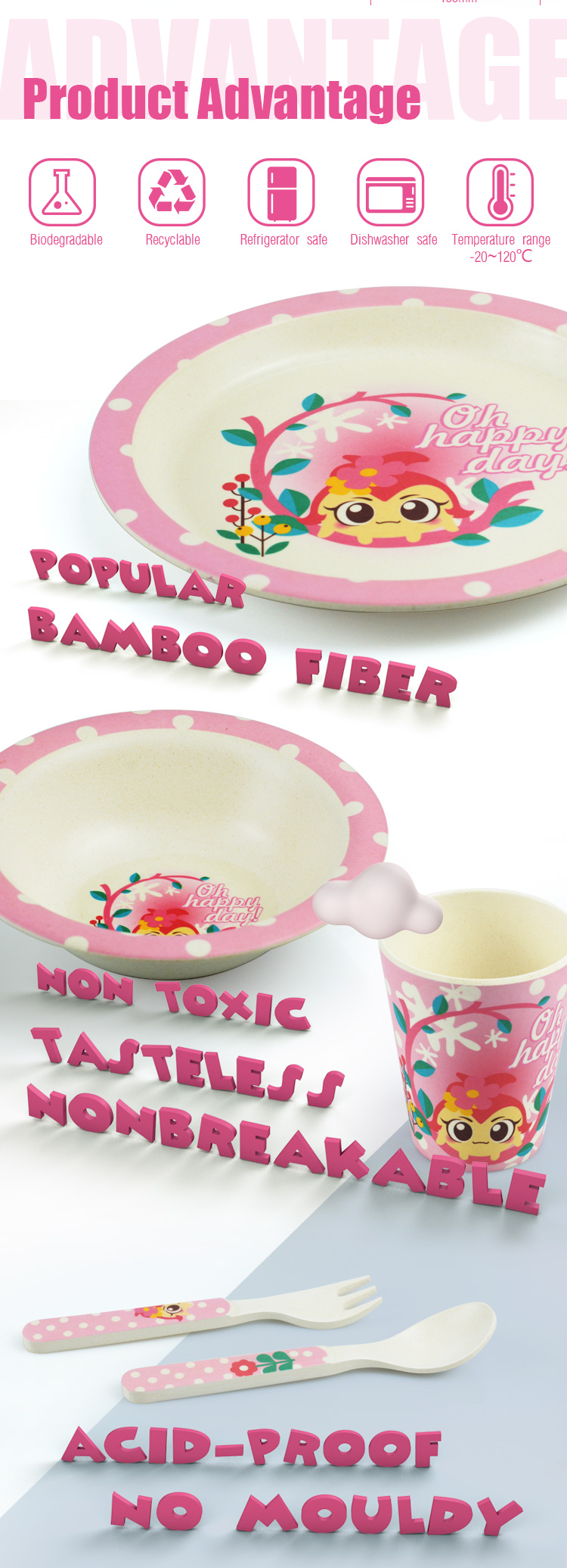 Cartoon Pattern Fiber Tableware Baby Feeding Bamboo Kids Dinner Set