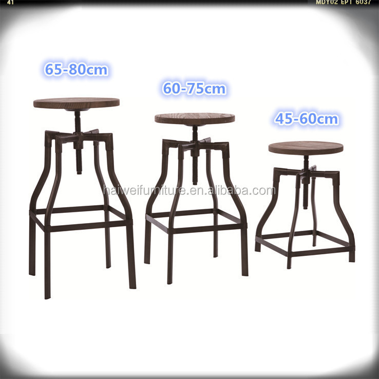 H4626-18M Industrial Bar Stool Iron High Dining Chair Metal Bar Furniture
