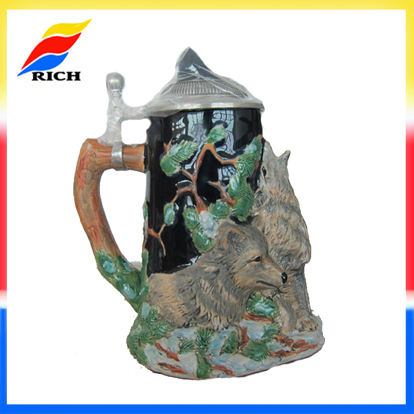 OEM 3D creative design hand painted beer mugs 1L beer mug