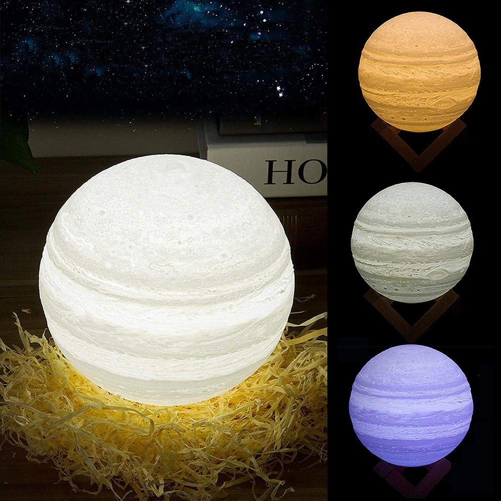 """Aolvo Jupiter Lamp, USB Rechargeable 3D Print Jupiter Lamp with Wooden Base, 16 RGB Changing Color, Remote & Tap Touch Sensor Control, Decor Night Light for Kids, Birthday, Bedside, Home - 5.9"""""""
