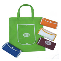 Factory Wholesale Women Polyester folding bag Promotional Shopping Bag With a small pocket