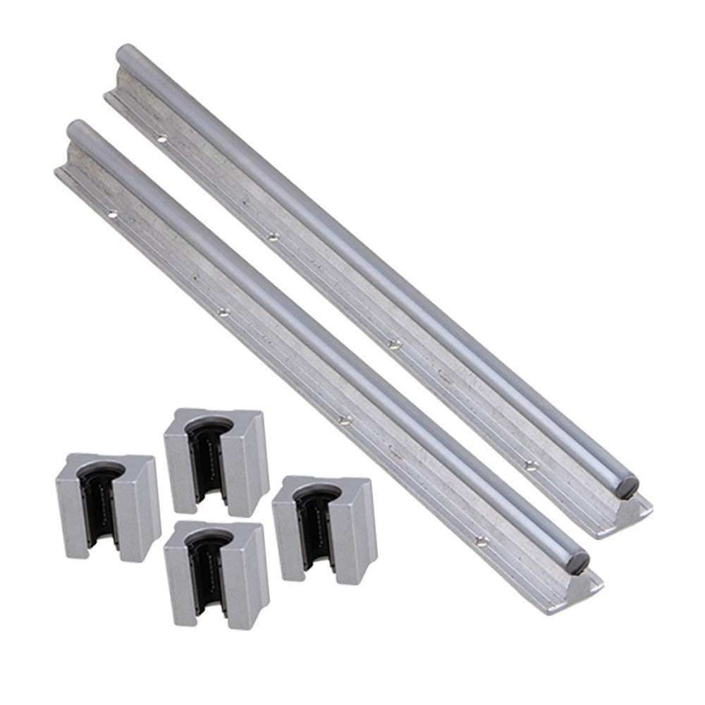 Industrial Combination,Ideaker Silver Open Roller Bearing Slide Block & L 400mm SBR12 Linear Bearing Rail Guide with 12mm Dia Shaft for CNC Machine Set of 6