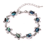 MOT2019003B Ocean blue Turtle shell abalone two way charm bracelet anklet beach jewelry for girls