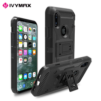 IVYMAX PC TPU case cover hybrid 3 in 1 rugged holster case with swivel belt clip for Apple iphone X