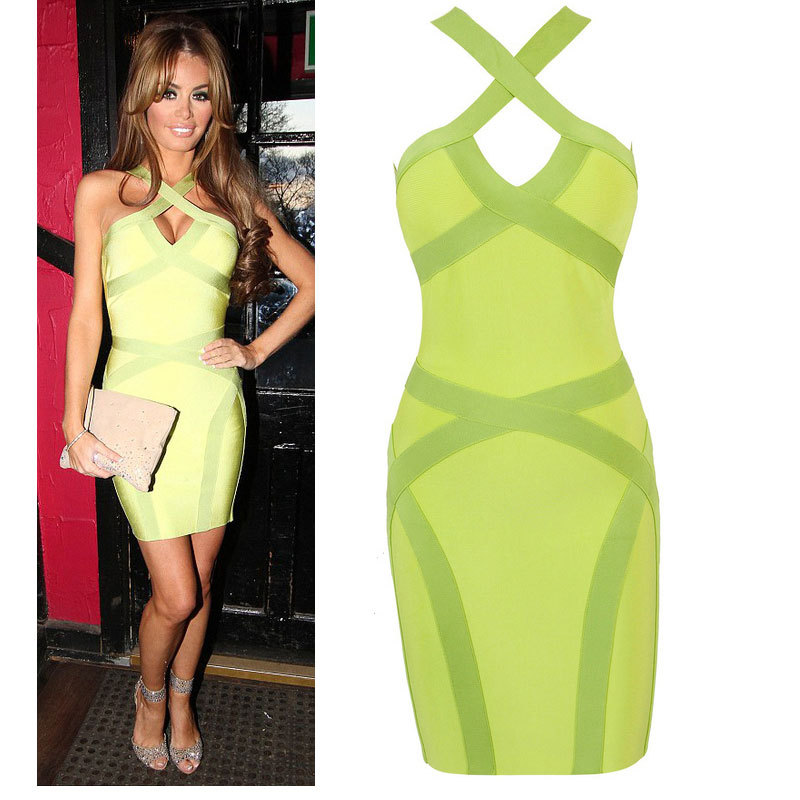 Light Green Criss Cross Bandage Dress 2014 New Style HL Spaghetti Strap Evening Party Pencil Dress