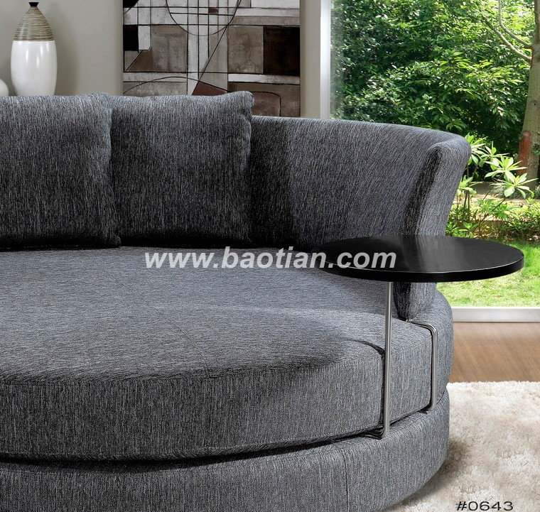 Amercan Style Big Round Seating Fabric Chair. Sofa Structure