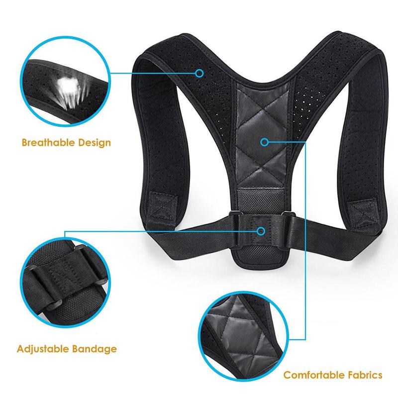 Posture Corrector For Men And Women Hump Correction Belt Clavicle Back Brace Support Shoulder Belt Amazon hot, Black