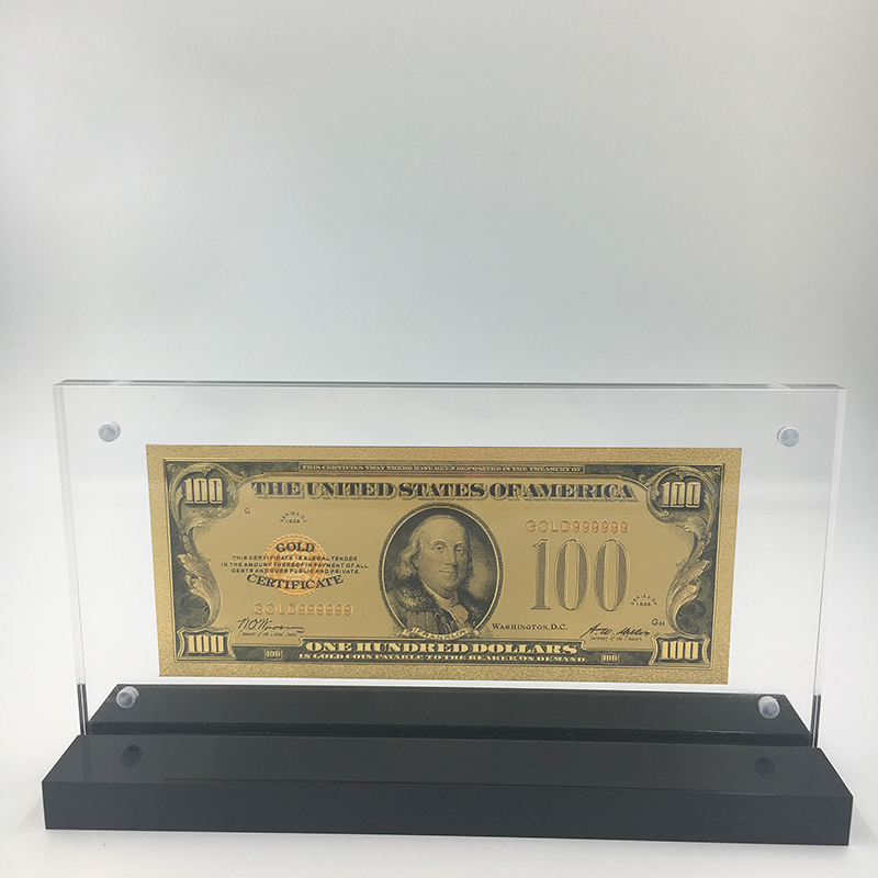 1928 version 100 US Dollar Gold Plated bills banknote with nice acrylic frame stand