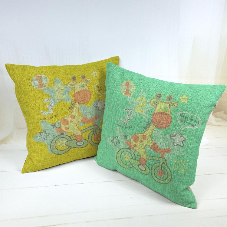 Hot Sale Thick and Thin Cotton Linen Decor Pillow New Home Fashion Gift 45cm Cartoon giraffe wear a glasses Office Sofa Cushion