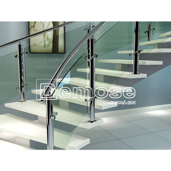 Modern Glass tread stainless steel rod railing double stringer Curved Stairs Design