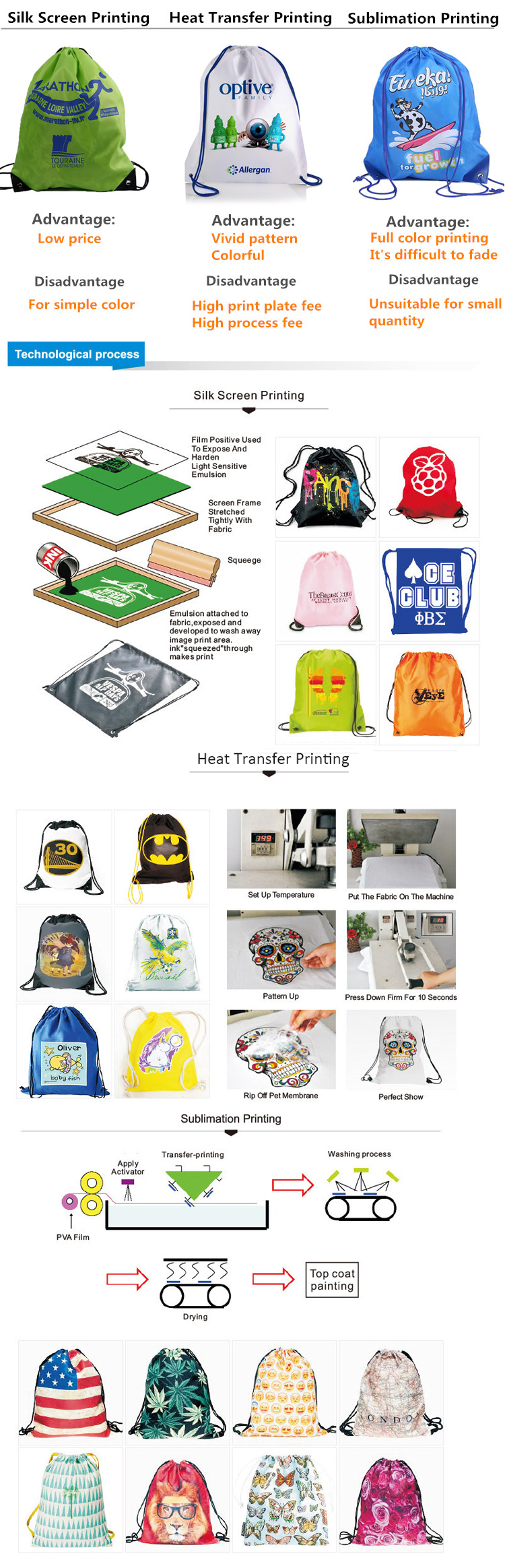 Fashion sport personalized 190T Polyester drawstring backpack for mountaineer