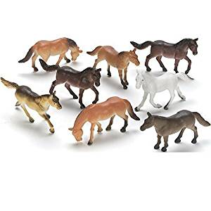 DeMarkCo Plastic Horses Miniature Novelty Toys Party Favors 20 Count Gift For Boys