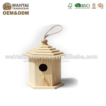 New Unfinished Wooden Bird House Wholesale From Factory