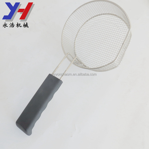 Custom stainless steel metal frying strainer with rubber handle