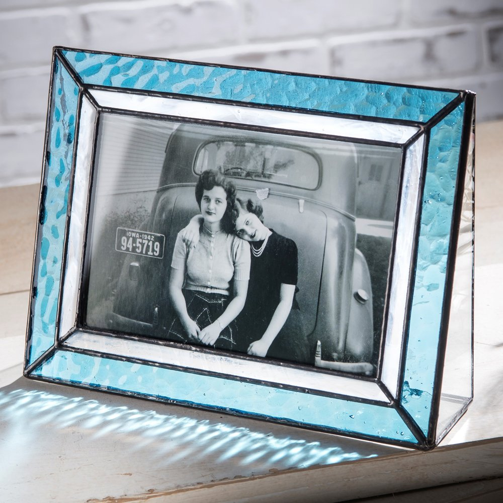 J Devlin Pic 401-46H Light Blue Glass Picture Frame Tabletop 4x6 Horizontal Photo Frame Home Decor
