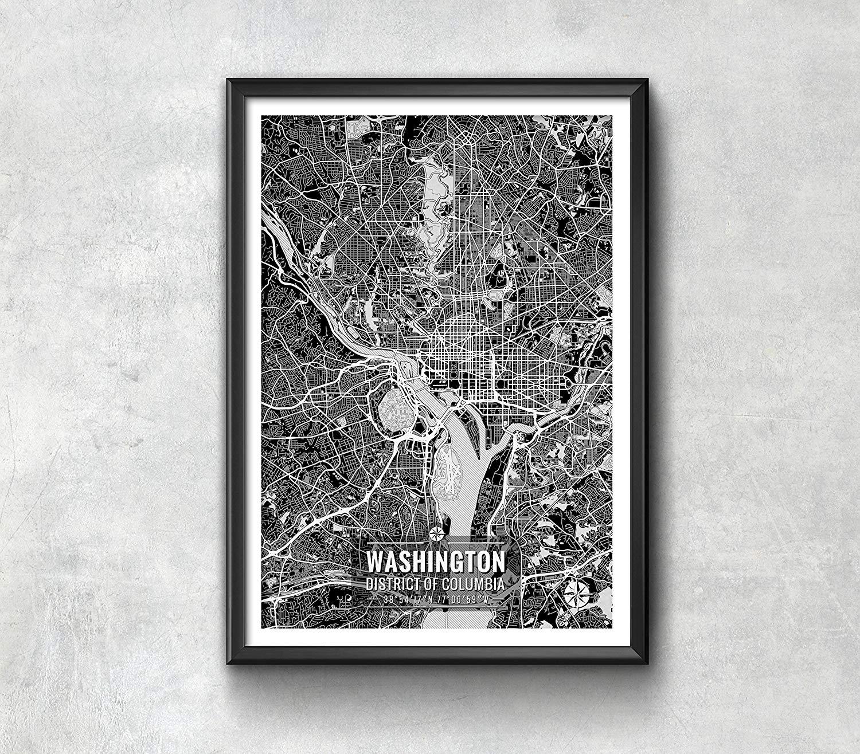 Washington D.C. Map with Coordinates, Washington D.C. Wall Art, Washington D.C. Map, Map Art, Map Print, Washington D.C. Print, Washington Map Art, Washington D.C. Poster
