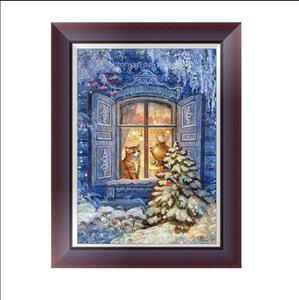 Christmas item snow landscape cat canvas painting roll 3d diamond painting