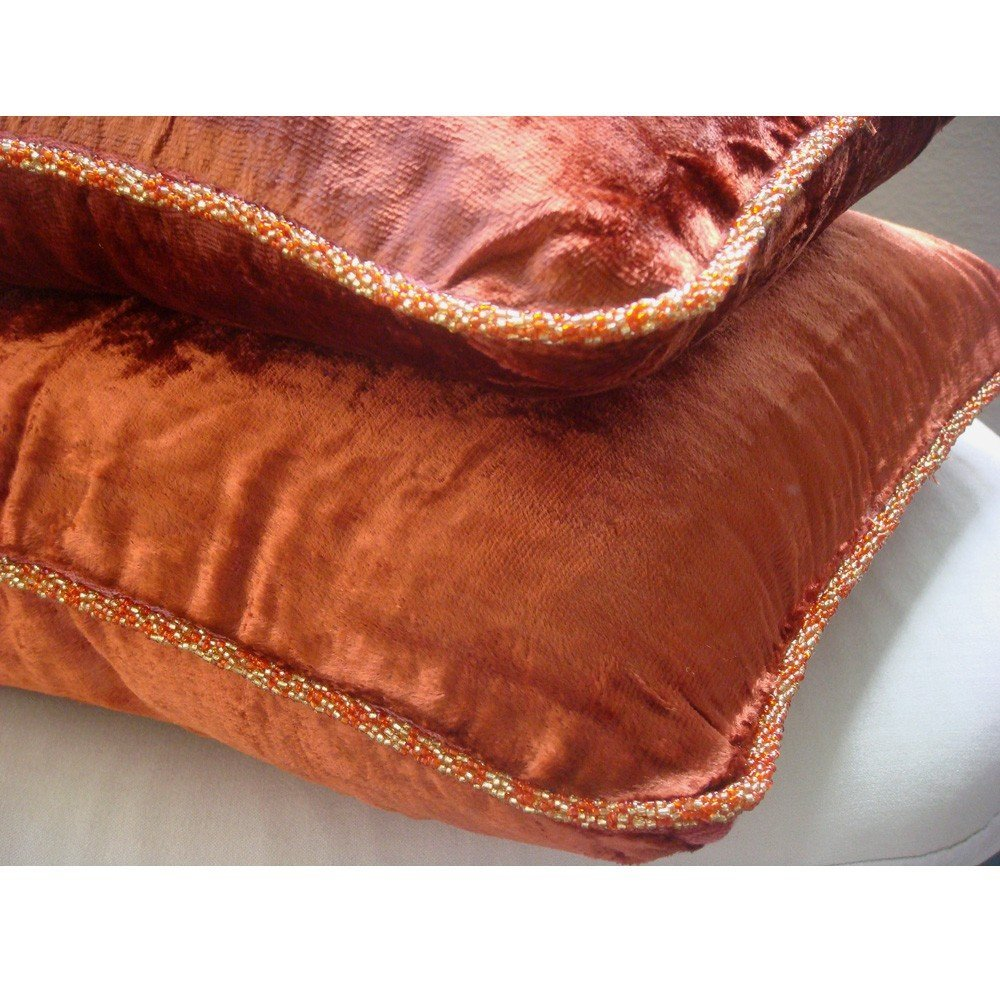 Designer Rust Accent Pillows Velvet Beaded Cord Throw Cover 14 X14