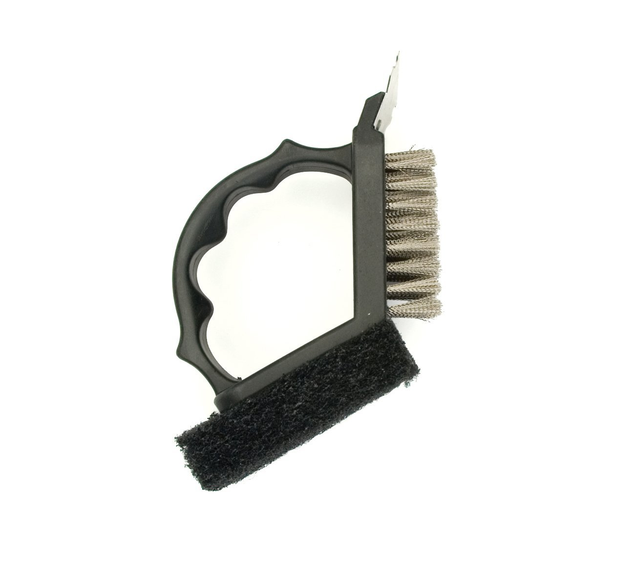 Charcoal Companion 2-in-1 Grill Brush with Black Plastic Handle