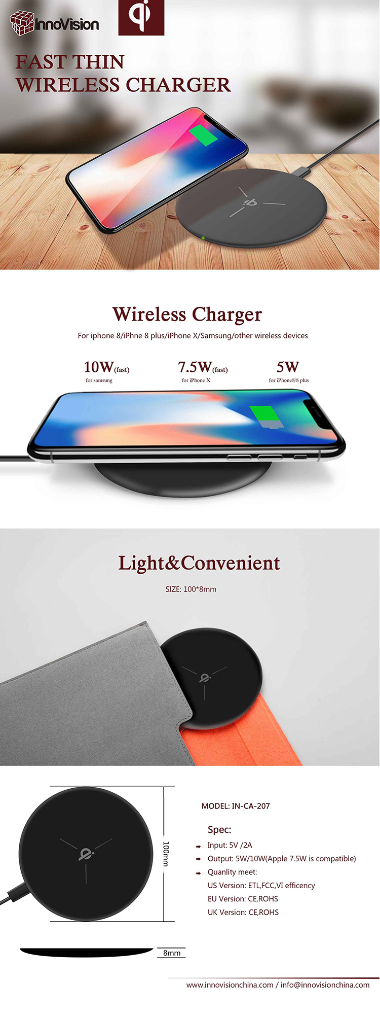 2018 new style full colorful 5W 7.5W 10W 10 W universal portable qi travel fast wireless charger for iphone and samsung