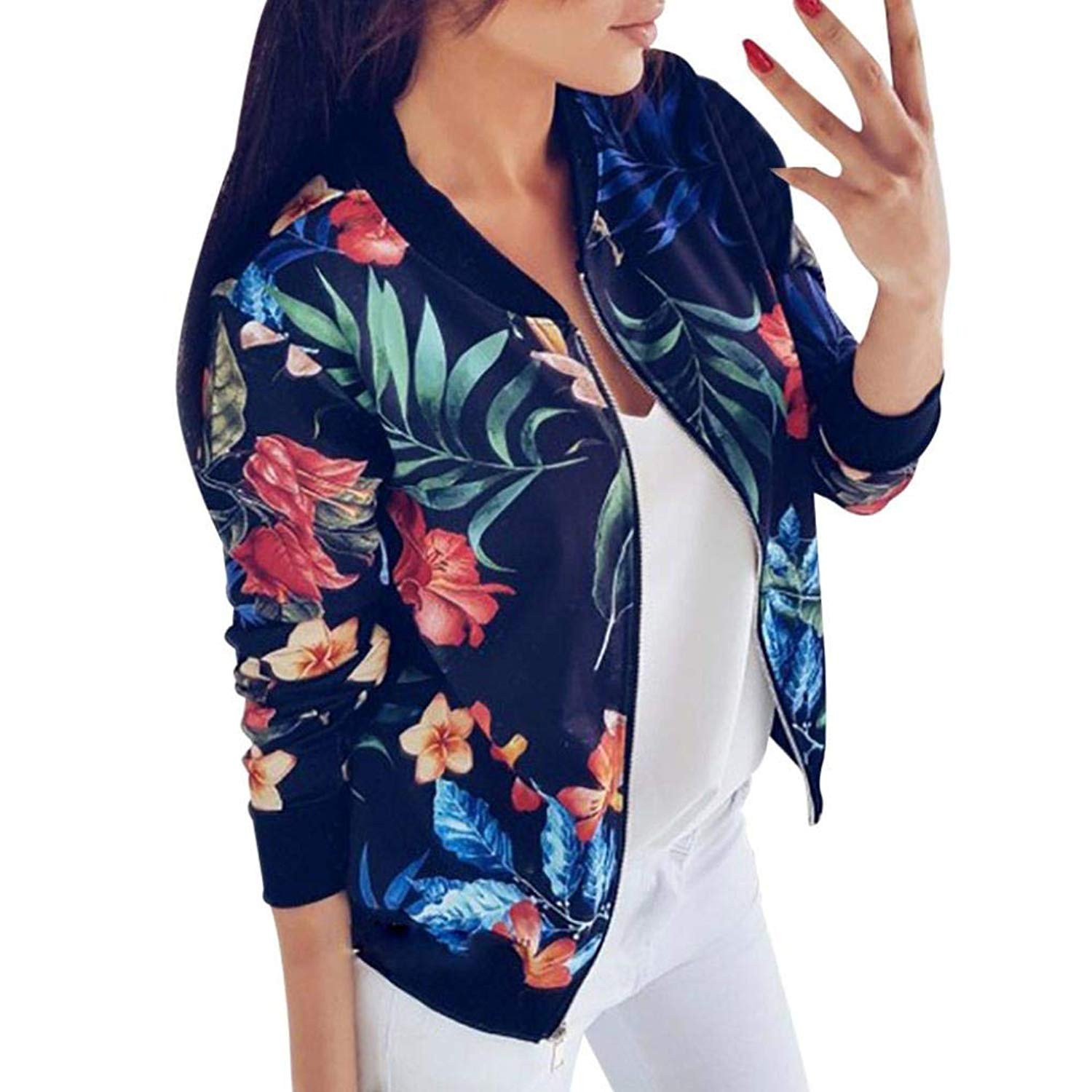 OCASHI Women Tops, Girl Print Classic Zipper Biker Bomber Jacket Short Coat Loose Outwear
