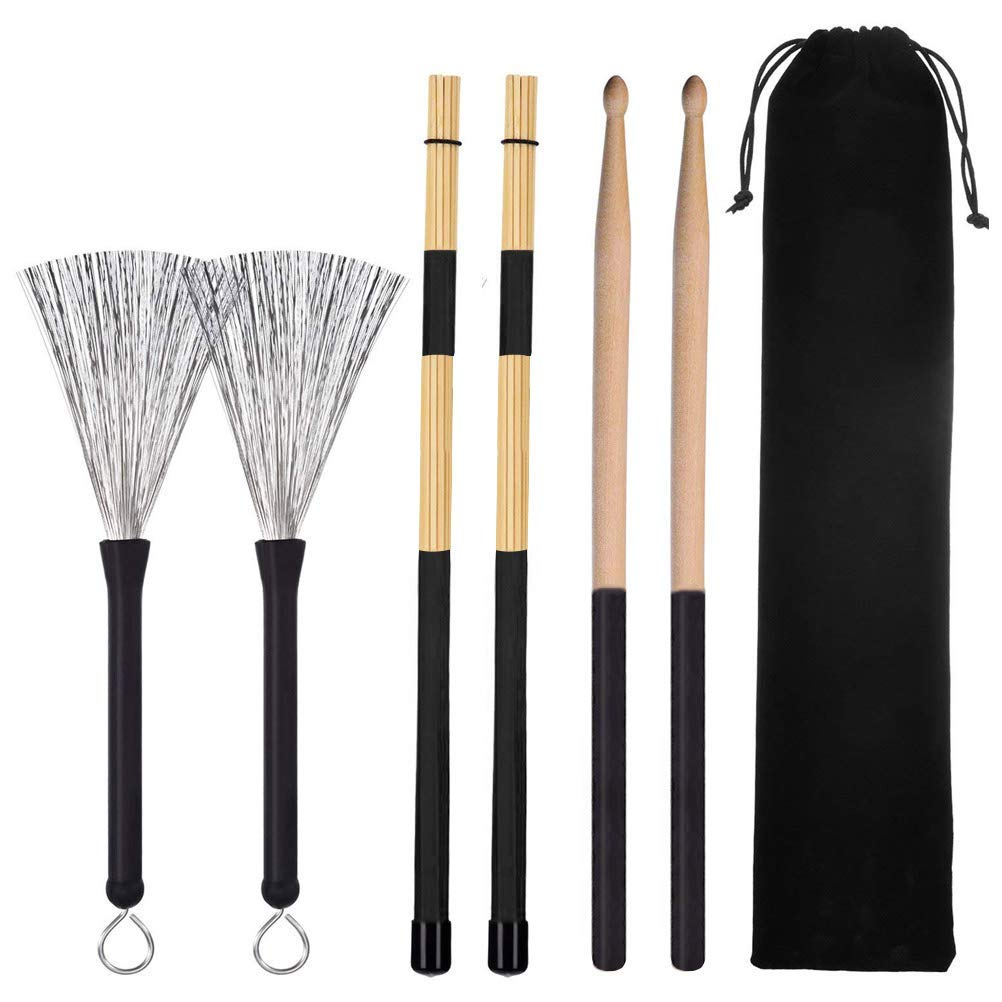 Cooyeah Drum Stick Brush Set, 1 Pair 5A Classic Maple Wood Drum Sticks 1 Pair Retractable Drum Wire Brushes and 1 Pair Rods Drum Brushes for Jazz Folk, Total 3 Pairs with Storage Bag
