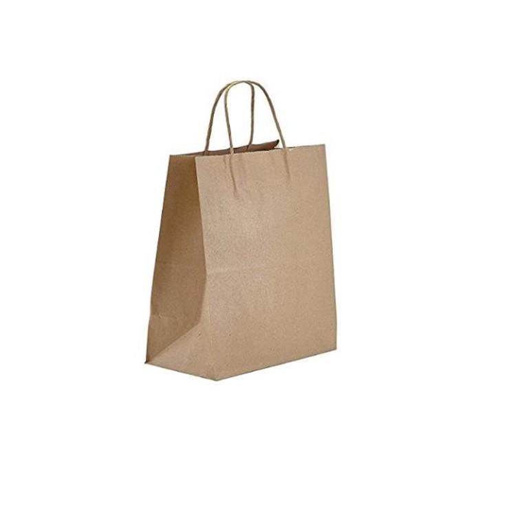 Fsc sertifikalı biyobozunur kraft kağıt alışveriş çantası büküm kolu kendi logolu perakende kahverengi kraft kağıt torbalar
