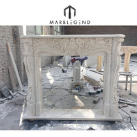 PFM hand caving natural stone mantel surround fireplace