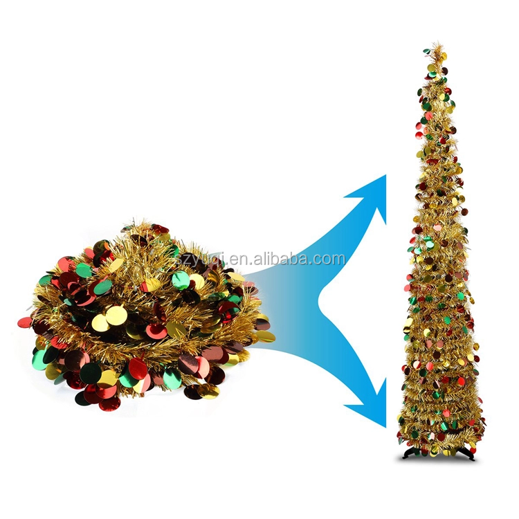 5 foot red pop-up collapsible tinsel pencil indoor christmas tree with shiny sequins for home decoration