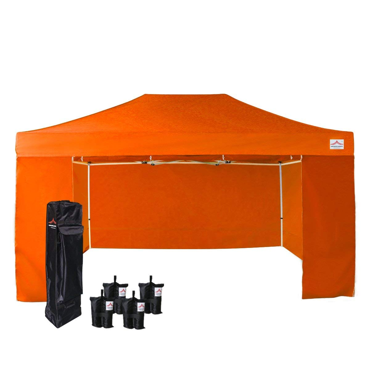 UNIQUECANOPY 500D Enhanced 10x15 Ez Pop up Canopy Portable Folded Commercial Canopy Car Shelter Wedding Party Show Tent with 4 Zippered Side Walls and Wheeled Carrying Bag Orange