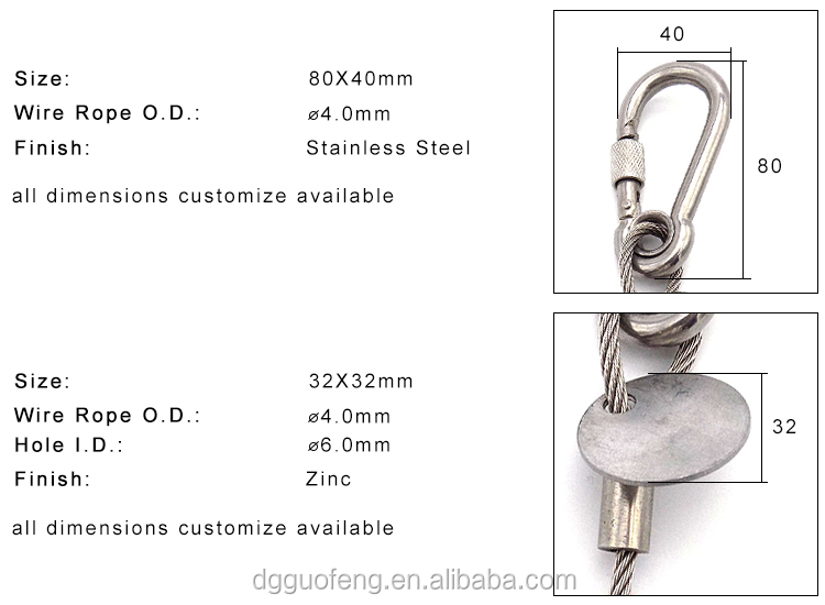 2.0mm 7*19 316 Stainless Steel Wire Rope With Pin Snap Hook For Sea boat