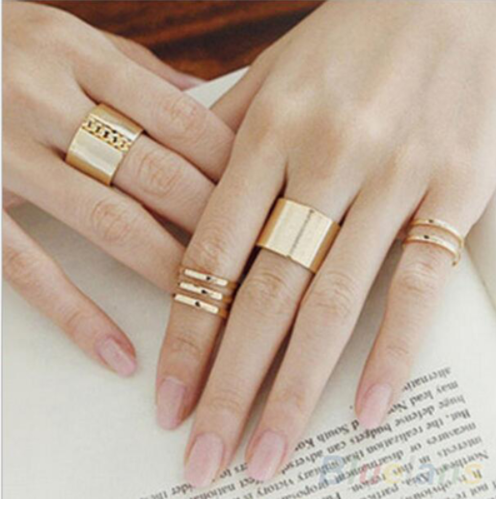 Korean Gold Silver Rings Female Anillos Stack Plain Band Midi Mid Finger Knuckle Ring Sets for Women Three finger Ring