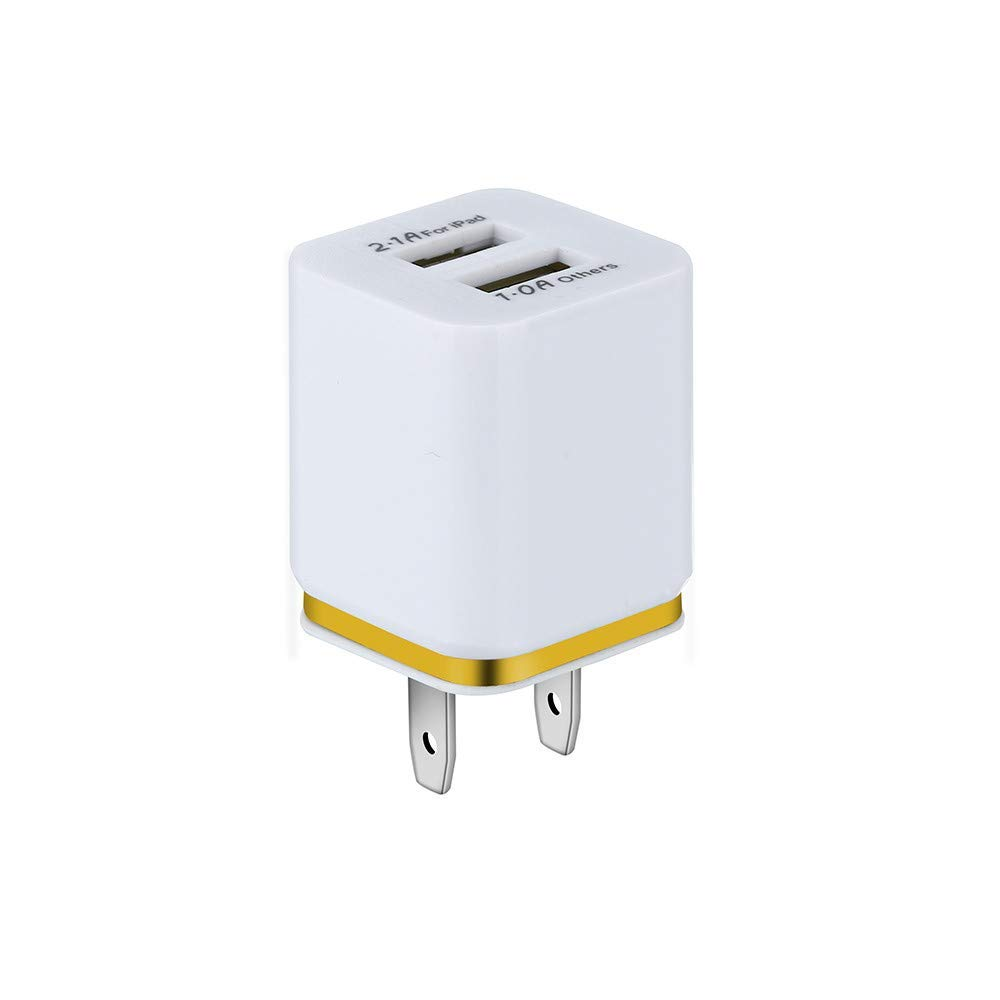 Ordee_❤️Protective ❤️Ordee❤️ 5V / 2A Dual USB Charger Fast Charging for Samsung for iPhone Xs Max Tablet Universal Mobile Phone Wall Adapter US Plug (Yellow)