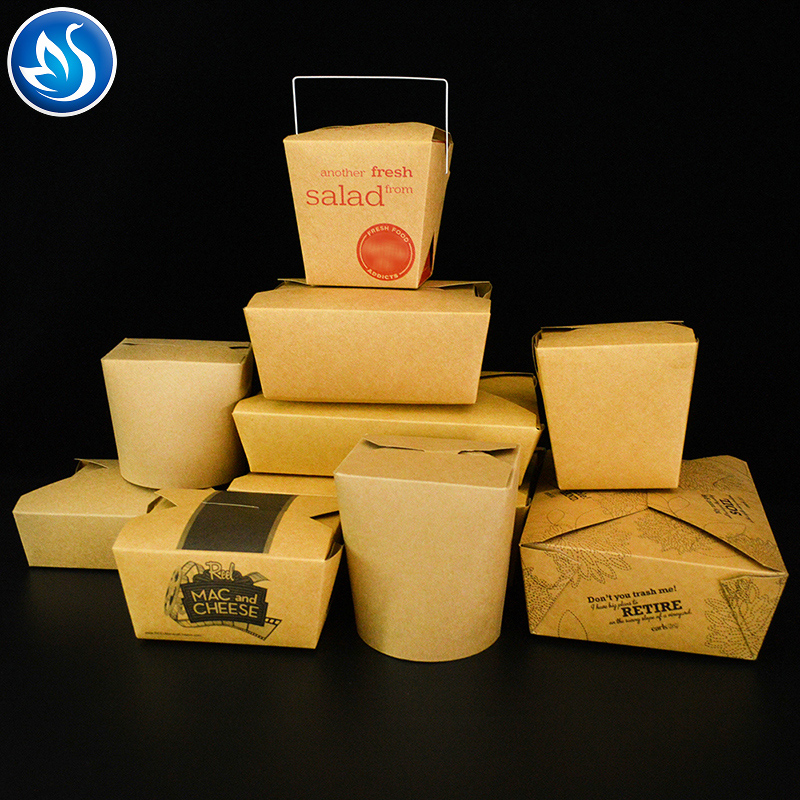 Chinese take away noodle box  kraft paper box pasta fast food packaging box