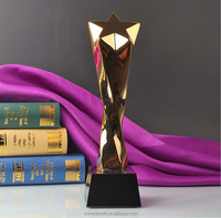 High quality golden star trophy award with crystal base
