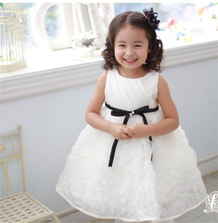 For 2 8 Years Old Girls Birthday Party Dress Beautiful Elegent White Flower Dresses