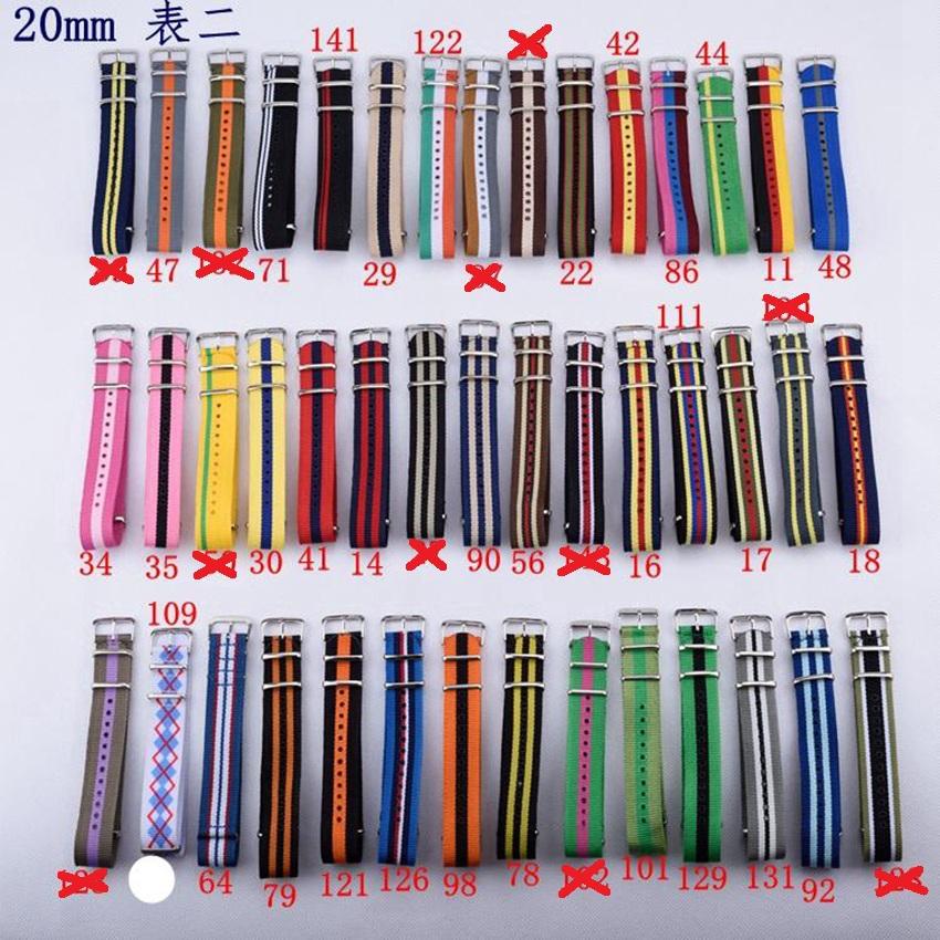 Kарти ремешок для часов 1 шт. ремешок на часы 20 мм часы полоса нато нейлон водонепроницаемый ремешок -65 цвета в наличии