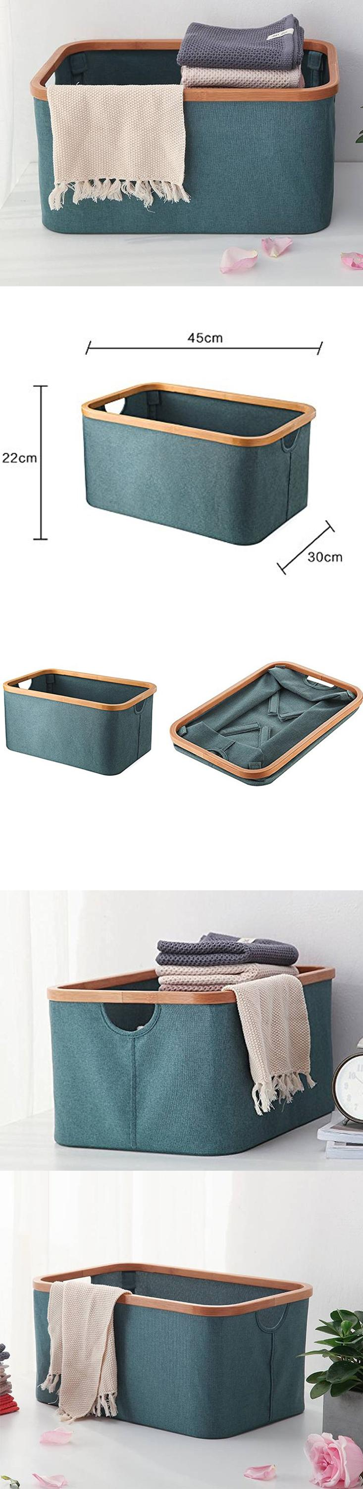 Natural Bamboo Blue Canvas Fabric Foldable Collapsible Storage Bin Basket For Home