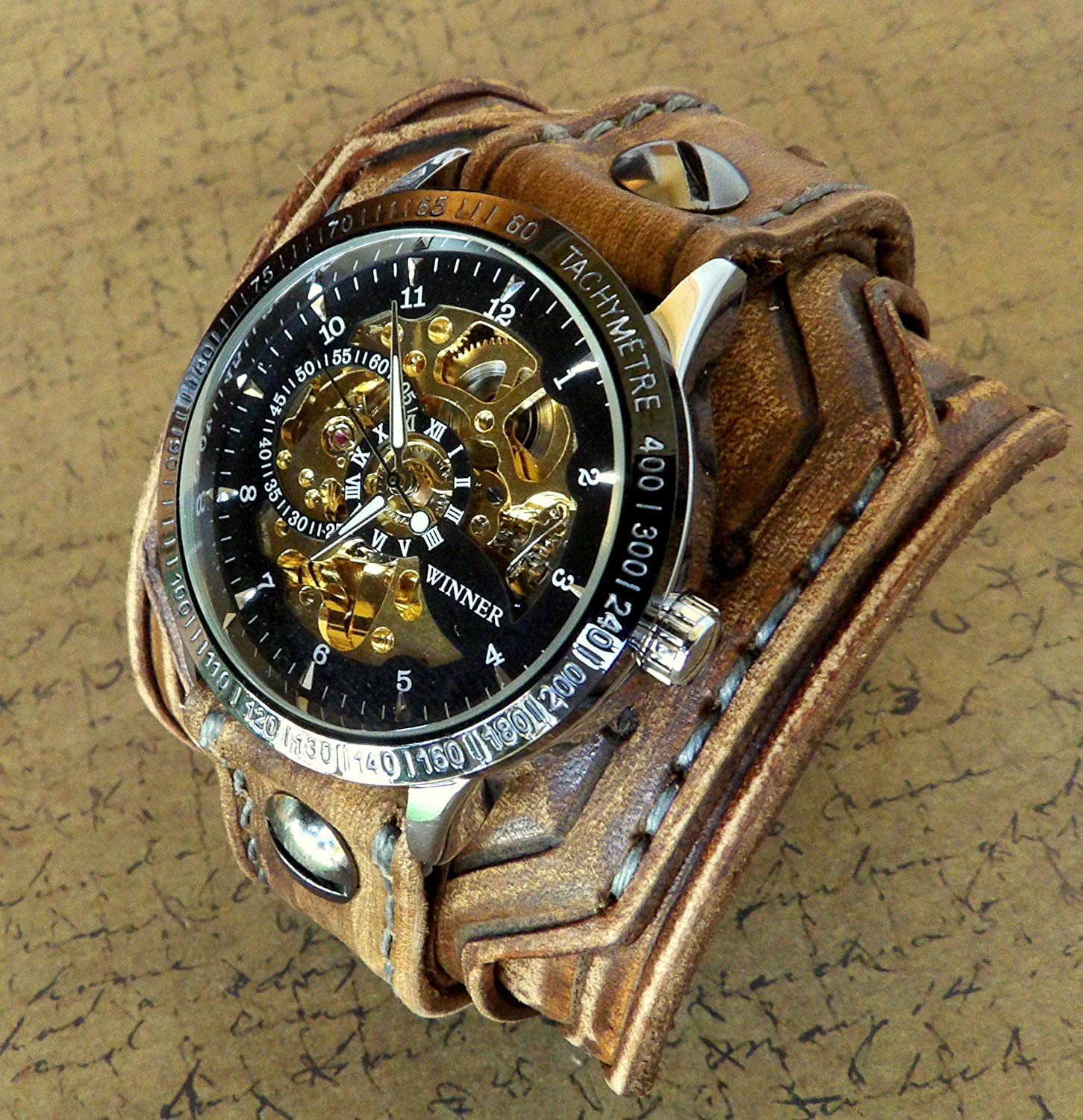 Steampunk Leather Wrist Watch, Rustic Men's watch, Skeleton Leather Cuff, Bracelet Watch, Watch Cuff