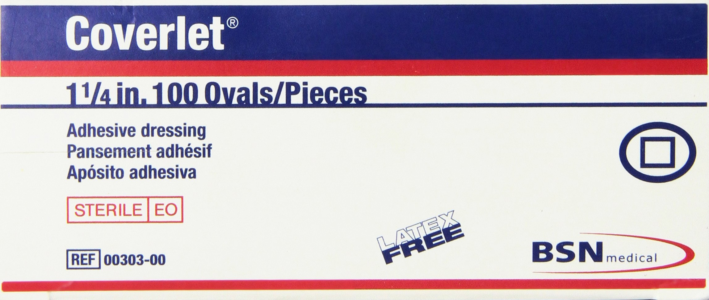 """Beiersdorf-jobst Coverlet Adhesive Dressing - 1 1/4 """" Oval - Box of 100, 100 Count"""
