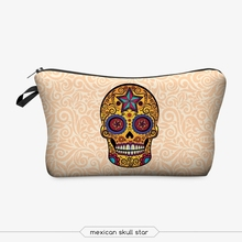 mexican skull cosmetic bag 3d print cosmetic bag high quality wholesale travel makeup cases with zippers pouch purses wallets