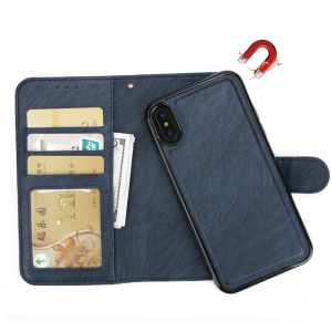 Removable Folio Flip Slim Card Holder Stand PU Leather Magnetic Back Cover For iPhone 6 7 8 X Detachable Wallet Case