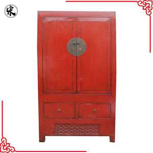 chinese antique red wedding wardrobe cabinet