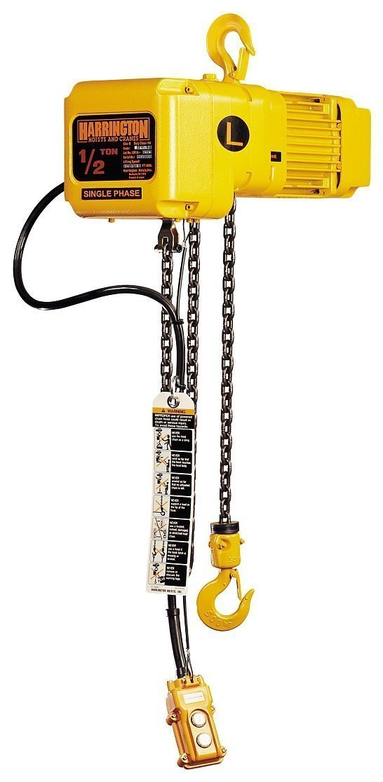 Harrington SNERG020L-10 Series SNER Single Phase Electrical Hook Mount Chain Hoist with Geared Trolley, Single Low Speed, 2 Tons Capacity, 10' Lift