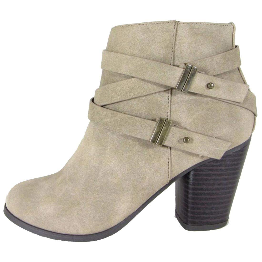 Soda Women's Closed Toe Criss Cross Multi Strap Stacked Ankle Bootie
