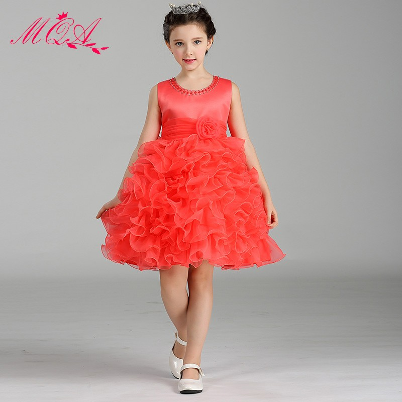 High Quality Satin Fabric Material Girls Dresses Lace Cake Dress Wear for Girls LM8282 фото
