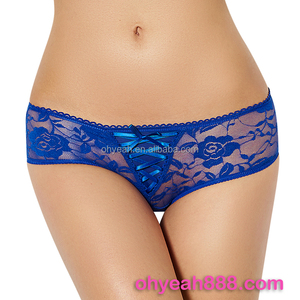 Sexy lace thongs panty crotchless open crotch blue panty for women