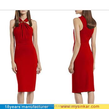Rode Pencil Jurk.Elegante Formele Casual Comfort Persoonlijke Afstemming Vrouwen Rode