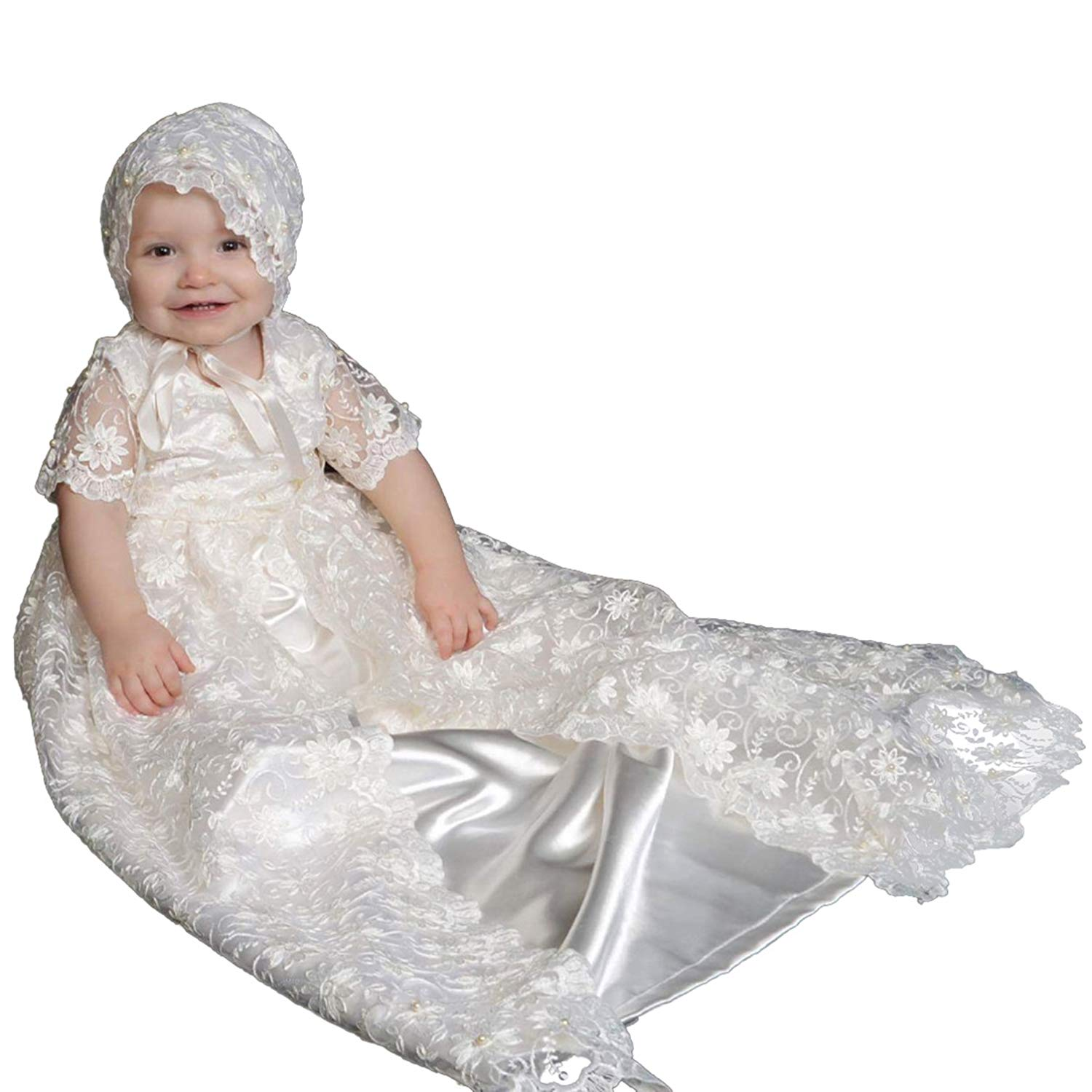 2c56cb841 Get Quotations · BuyBro Baby Girls Lovely Lace Christening Gowns Dresses  Long