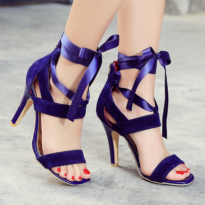 3c4127ad3185 Meotina Women Shoes Sandals 2017 Summer Cross Tied High Heel Sandals  Gladiator Women Sexy Party Heels Blue Red Large Size 44 45